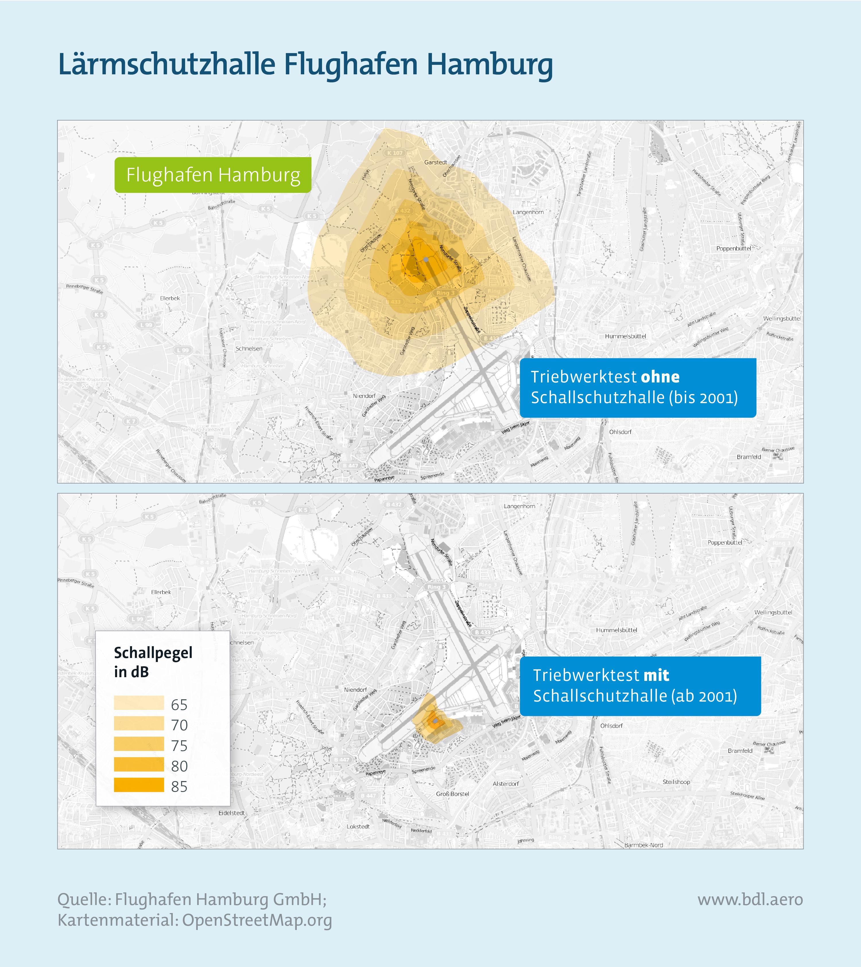 Fluglärm: Lärmschutzhalle Flughafen Hamburg