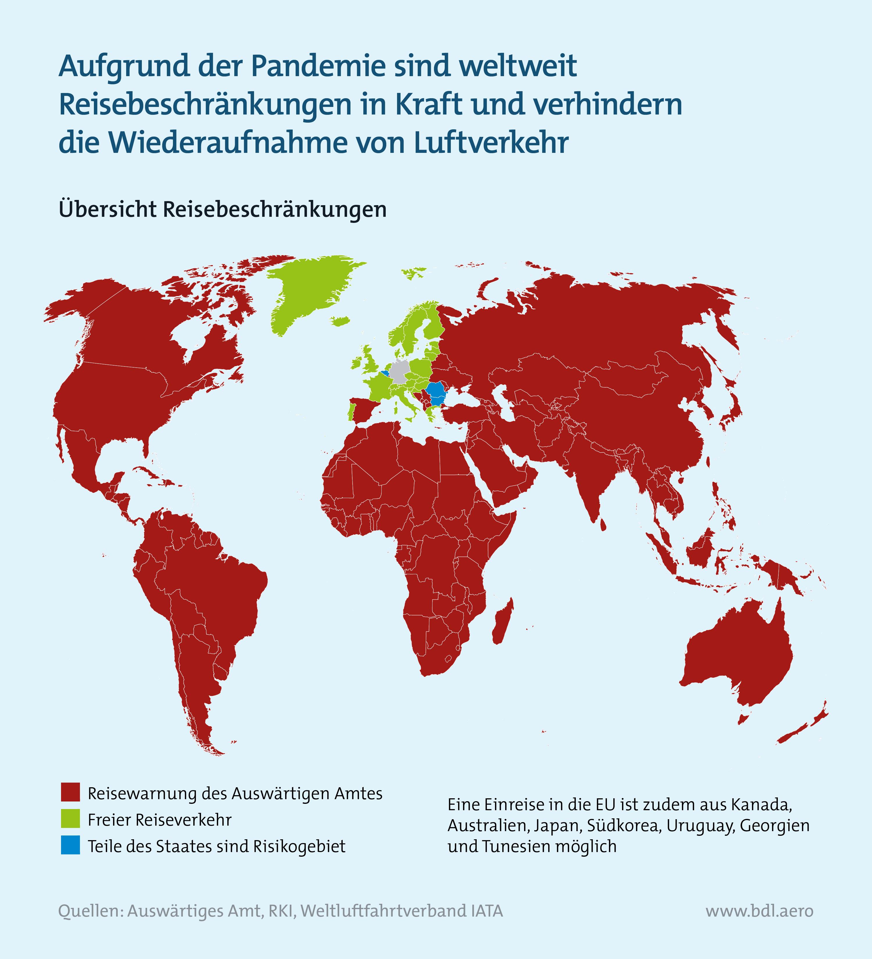 Zahlen zur Lage der Branche BDL: Weltweite Reisebeschränkungen wegen Corona-Pandemie