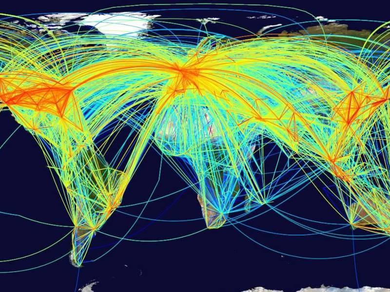 Weltkarte mit Flugverbindungen