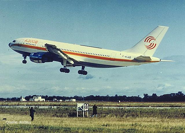 Der erste Airbus A 300 B kurz nach dem Start