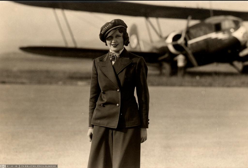 Nelly Diener ist die erste Flugbegleiterin Europas.