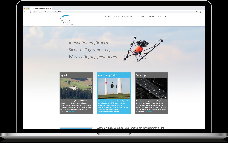Die Website des Verband für unbemannte Luftfahrt