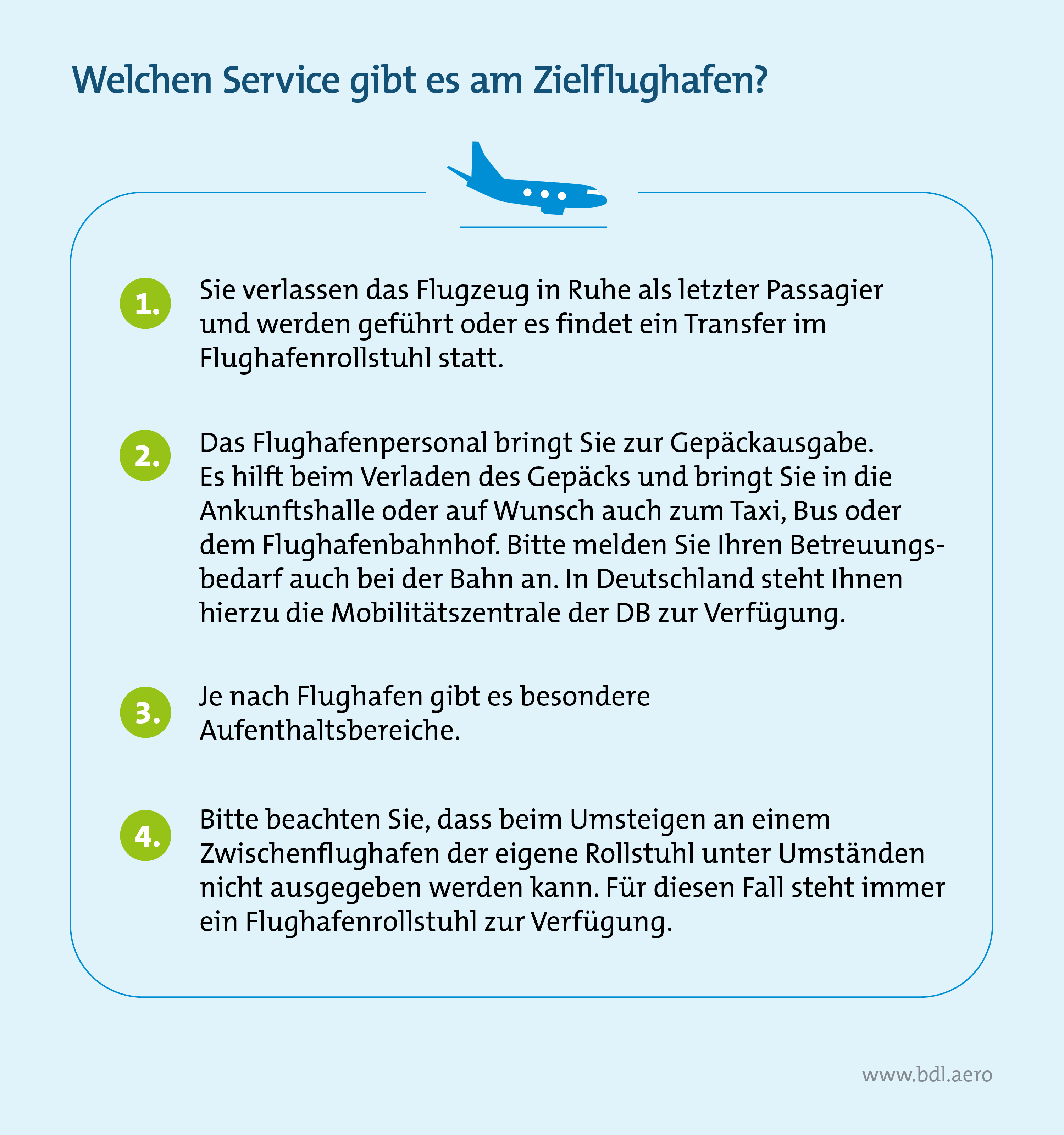 Barrierefreies Reisen mit dem Flugzeug: Welchen Service gibt es für PRM-Reisende am Zielflughafen?