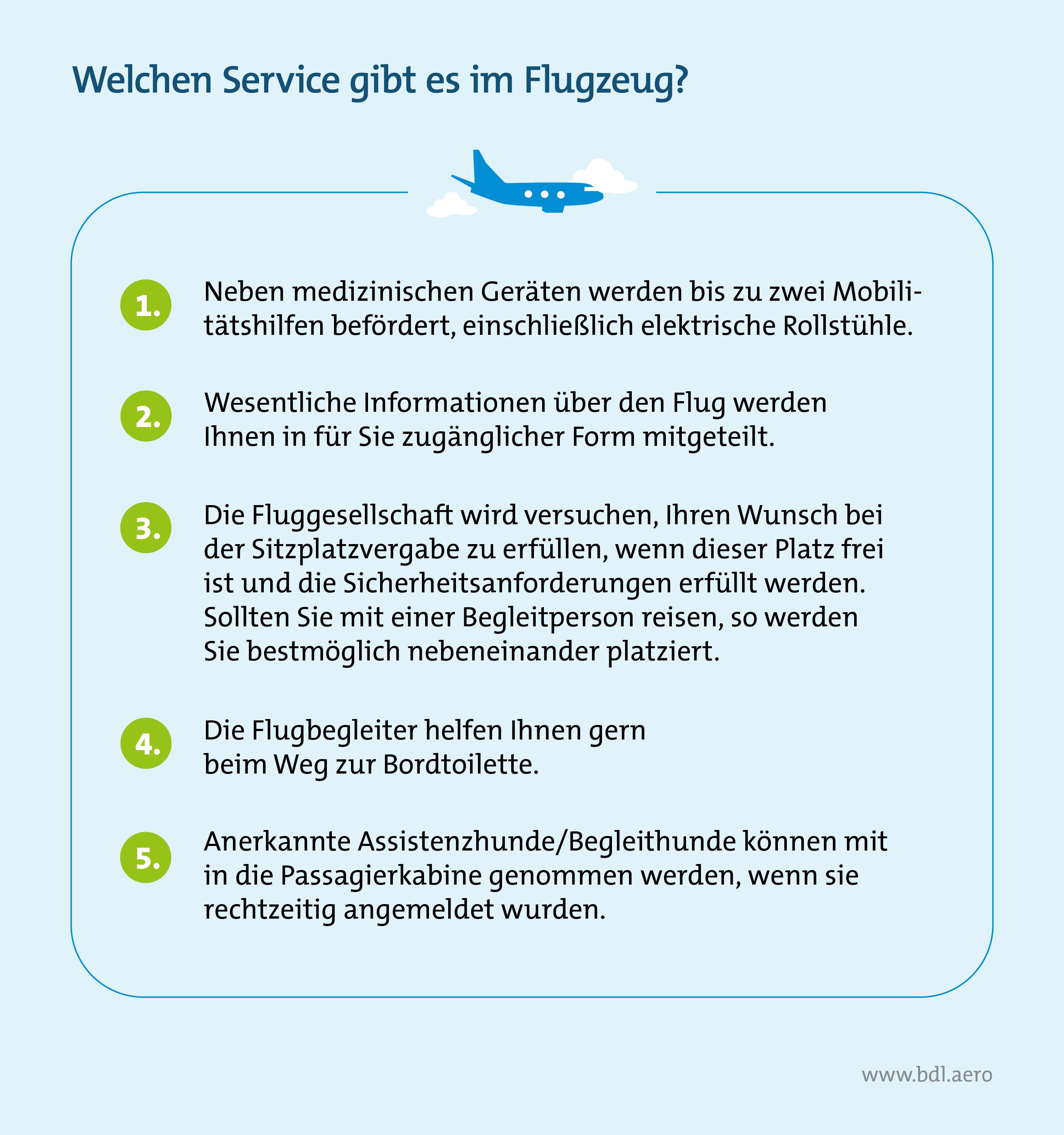 Welchen Service gibt es für PRM-Reisende im Flugzeug?
