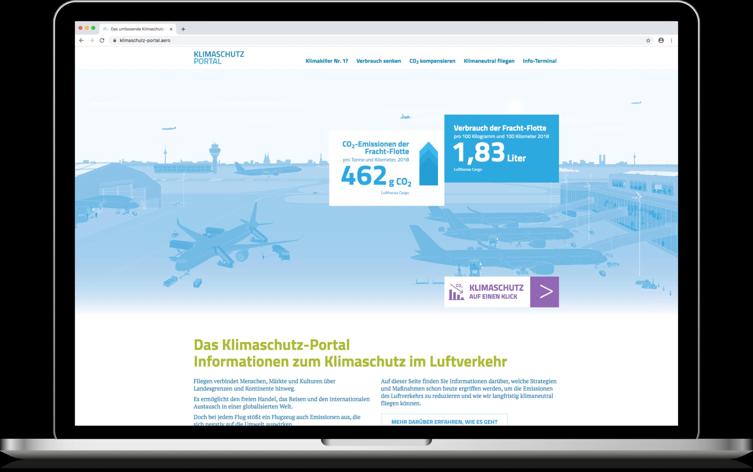 Klimaschutz im Luftverkehr: Das Klimaschutz-Portal der Deutschen Luftfahrt
